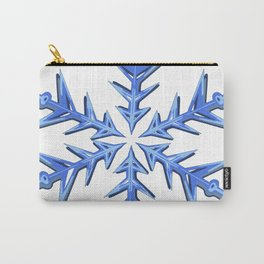 Minimalistic Ice Blue Snowflake Carry-All Pouch