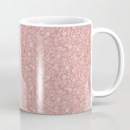 Mauve - Dusty Rose - Antique Floral Design Coffee Mug