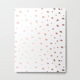 Rose Gold Pink Polka Dots on White Metal Print