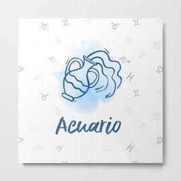 Zodiac signs collection - Aquarius/Acuario Delvallediseno Metal Print