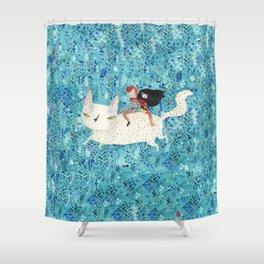 White giant cat Shower Curtain