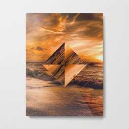 Ocean Sunset Geometric Metal Print