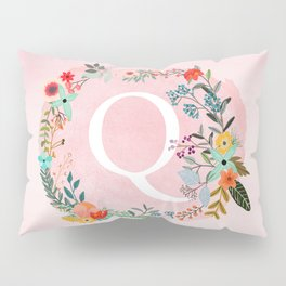 Flower Wreath with Personalized Monogram Initial Letter Q on Pink Watercolor Paper Texture Artwork Pillow Sham