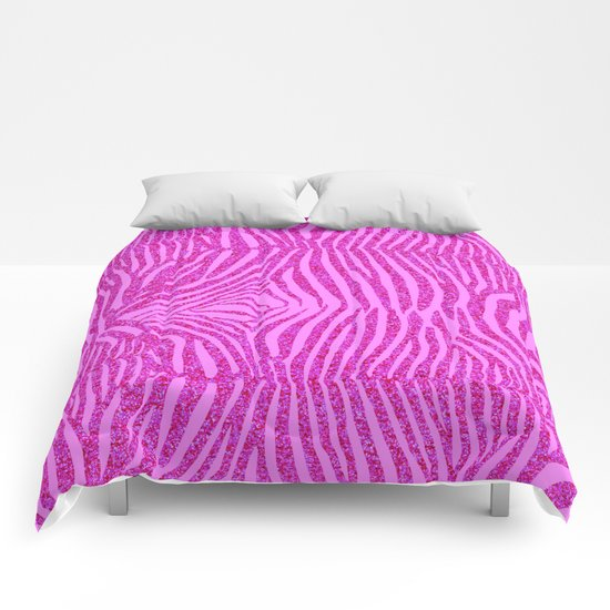 Light Pink Glitter Zebra Print Comforters