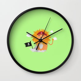Lion Pirate with Pirateboat T-Shirt D4utl Wall Clock