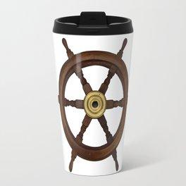 old oak steering wheel for ship or boat Travel Mug