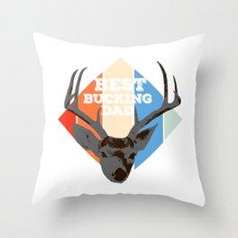 "Great Shooting Shirt For Hunters Saying ""Best Bucking Dad"" T-shirt Design Hunting Rifle Gun Throw Pillow"