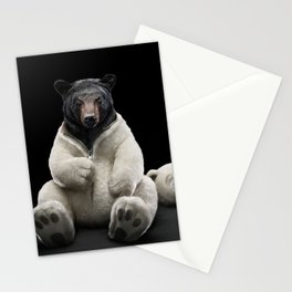 Black bear wearing polar bear costume Stationery Cards