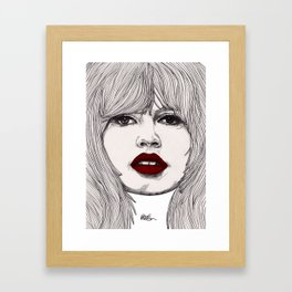 Brigitte with Red Lips Framed Art Print