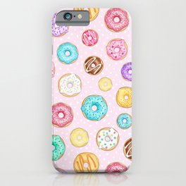 Scattered Rainbow Donuts on pale spotty pink - repeat pattern iPhone Case