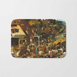 Pieter Bruegel the Elder Netherlandish Proverbs Painting Bath Mat