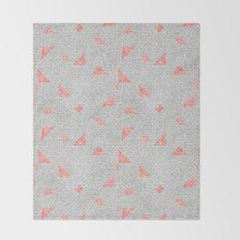 Tangram peach and silver line Throw Blanket