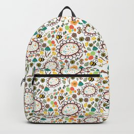 Busy Doodle Bees and Flowers Pattern Backpack