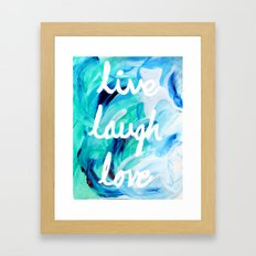 Live Laugh Love in Blues and Greens Framed Art Print