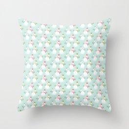 Adorable Christmas Snowmen Pattern Throw Pillow