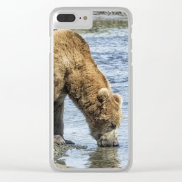 Thirsty Big Brown Male Bear Clear iPhone Case