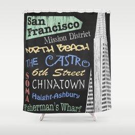 San Francisco Tourism Poster Shower Curtain