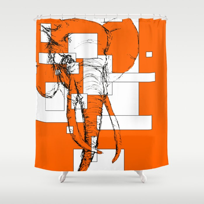 Orange is the New Elephant Shower Curtain