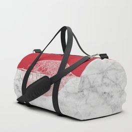 Natural Outlines - Leaf Red & White Marble #930 Duffle Bag