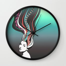 Girl with long colored waves hair Wall Clock