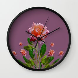 PUCE-GREY PINK ROSE GARDEN ART Wall Clock
