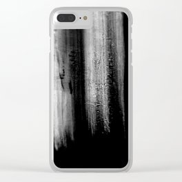 Black And White Bokeh Stripes Brush Strokes - Rad Clear iPhone Case