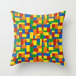 Colored Building Blocks Throw Pillow