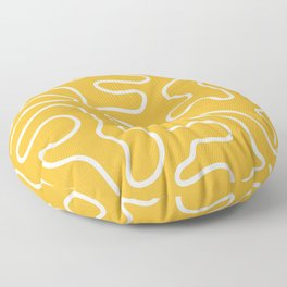Squiggle Maze Abstract Minimalist Pattern in White and Bright Mustard Yellow Floor Pillow