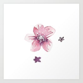 Lilac Pink Watercolour Fiordland Flower Art Print