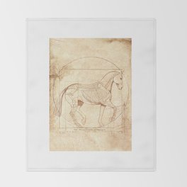 Da Vinci Horse In Piaffe Throw Blanket