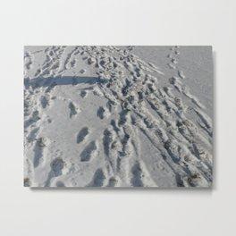 Seashore Footsteps Metal Print
