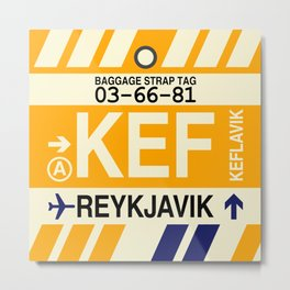 KEF Reykjavik • Airport Code and Vintage Baggage Tag Design Metal Print