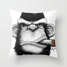 Cigar Monkey Throw Pillow
