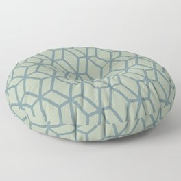Aqua and Green Geometric Tessellation Pattern 16 2021 Color of the Year Aegean Teal Salisbury Green Floor Pillow