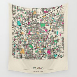 Colorful City Maps: Plano, Texas Wall Tapestry