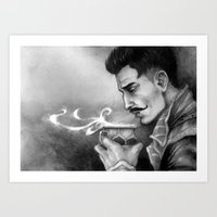 "dragon age inquisition Art Prints featuring Dragon Age Inquisition - Dorian Pavus - Morning tea by Barbara ""Yuhime"" Wyrowińska"