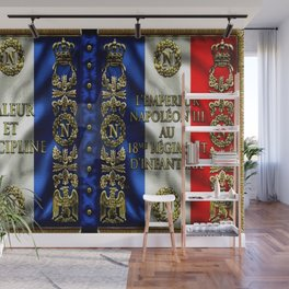 Vintage 18th Regiment French Battle Flag of Napoleon III Wall Mural