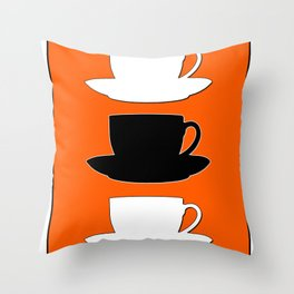 Retro Coffee Print - Black & White Cups on Burnished Orange Background Throw Pillow