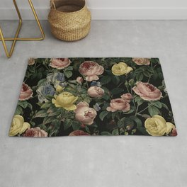 Vintage Roses and Iris Pattern - Dark Dreams Rug
