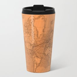 World Surface Routes in Brown Travel Mug