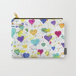 Colorful Heart Pattern Paint Splatters Carry-All Pouch