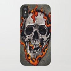Skull in Flames iPhone X Slim Case