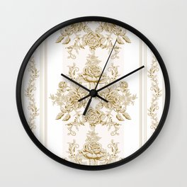Art Nouveau,VIctorian,Kaki,white,toile,floral,chic,pattern,french country,shabby chic,modern,trendy,timeless style,classic Wall Clock