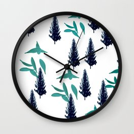 Trees & Leave on a White Crisp Background Wall Clock