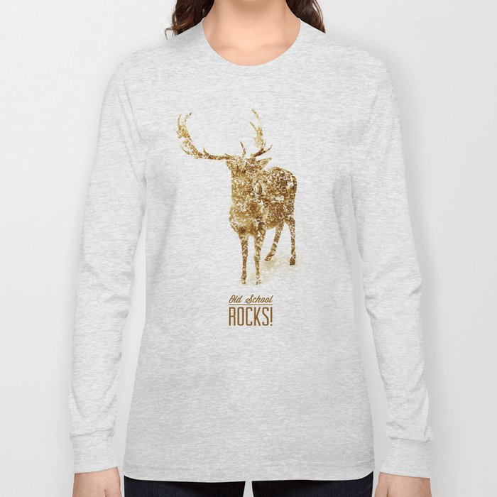 Old School Rocks! Gold Deer Version Long Sleeve T-shirt
