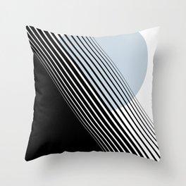 Rising Sun Minimal Japanese Abstract White Black Blue Throw Pillow