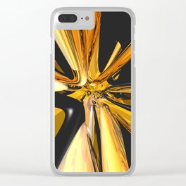 Black And Gold 3D Abstract Clear iPhone Case