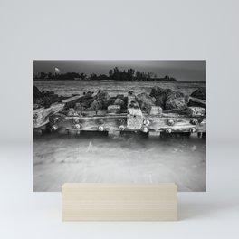 Side of Pier in BW Mini Art Print