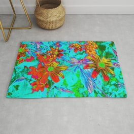 Aqua Tropical with Yellow and Orange Flowers Rug