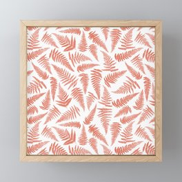 Fern terracotta and white seamless pattern design Framed Mini Art Print